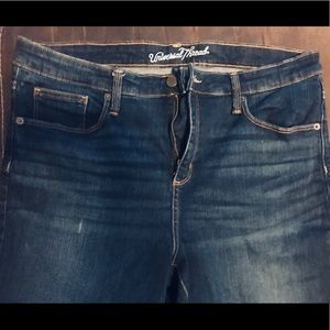 Cropped High-Rise Skinny Blue Jeans Women's 16